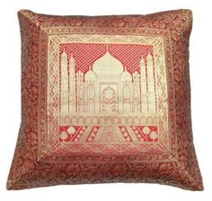 1 Piece Burgundy Brocade Tajmahal Cushion Pillow Cover India Ethnic Art :     Price: $22.99    .        Beautiful handmade brocade fabric Tajmahal print cushion/pillow cover. This cushion cover has a superior rich look and will enhance the beauty of your room. It has a satin fabric on back side with zipper closure.This cushion cover has a stunning design that will catch your...Check Price >> http://gethotprice.com/appin/?t=B008KVRFQI