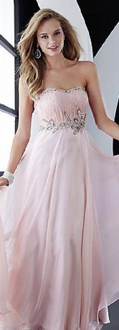 Elegant A-Line Pink Long Chiffon Strapless Evening Dress In Stock tkzdresses65125bkj #longdress #promdress