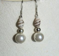 Pearl & shell earrings - to match necklace