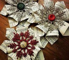 Sterne und Schneeflocken aus Notenblättern falten
