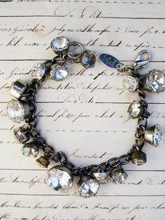 Paula Montgomery Vintage Rhinestone Button Charm Bracelet No. 3 - vintage rhinestone button bracelet, repurposed button bracelet, one of a k...