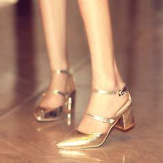 Women's+Shoes++Kitten+Heel+Pointed+Toe+Pumps/Heels+Office+&+Career/Dress+Black/Silver/Gold+–+USD+$+39.99