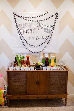 26 Ideas For Bridal Shower Brunch Drinks Bloody Mary Bar Brunch Bar, Brunch Drinks, Brunch Buffet, Bar Drinks, Brunch Food, Drink Bar, Mimosa Brunch, Cocktails, First Birthday Brunch