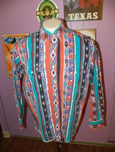 Vintage-WRANGLER-Southwestern-USA-Made-BUTTON-Western-MENS-Shirt-SIZE-XL-17-1-2