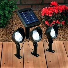 5 Easy DIY Solar Energy Projects (even a beginner can build in a weekend) - One thing that I Solar Spot Lights Outdoor, Solar Flood Lights, Solar Pathway Lights, Backyard Lighting, Outdoor Lighting, Exterior Lighting, Solar Energy Panels, Solar Panels, Solar Powered Spotlight