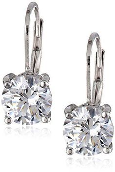 Sterling Silver Swarovski Zirconia 3cttw Leverback Drop Earrings * You can get more details by clicking on the image.