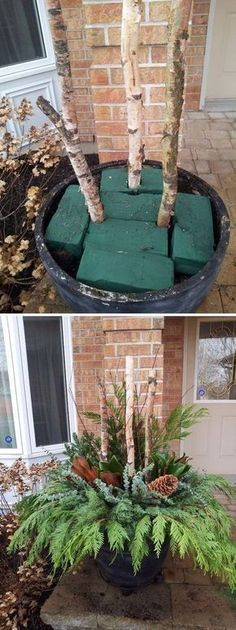 DIY Outdoor Christmas Planter. Awesome, and one also can do a scaled-down version for those of us in small spaces.