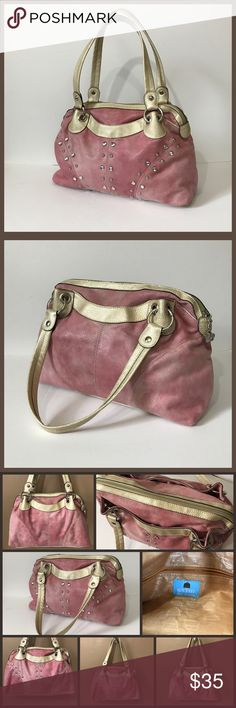 Kathy Van Zeeland Handbag Pink suede like shoulder bag with gems and studs. Silver hardware. Exterior snap pockets on both sides. Interior is lined with signature print lining and has 3 slip pockets and 1 zip pocket. Great used condition. Super soft and cute! Kathy Van Zeeland Bags Satchels