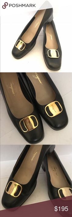 Salvatore Ferragamo Black Leather Pump Gently worn in great condition. Other than soles no scuffs no damages. Size 10 B . Very pretty and elegant! Metal parts are in gold tone and no scratches. Made in Italy. All of my items are authentic. Salvatore Ferragamo Shoes Heels