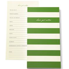Dear Pet Sitter Notepad By Kate Spade.  Now this is a great idea!  A notepad to fill in everything your fursitter needs to know.  Great gift for a new dog or cat mommy! (or lizard, snake, gerbil, hamster....)  available now at UrbanGirl.com http://www.urbangirl.com/Products/kate-spade-new-york-List-Pad---Pet-Sitter__KSP145930.aspx