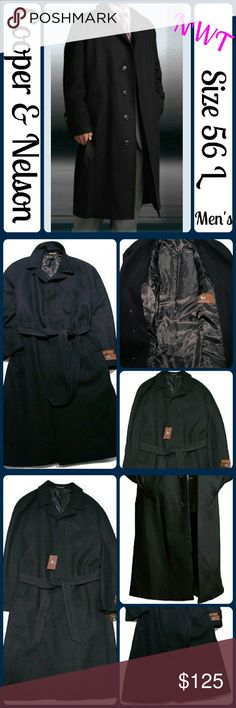 🆕NWT Sz 56L Black Men's Full Length Overcoat Single Breasted 4 Button Jet Black Men's Full Length Wool Blend Overcoat,  Sweep off the winter in this very fashionable overcoat that showcases a rich blend of wool and Rayon in each and every inch.  Striking single breasted design is crafted in jet black.  Measures a standard length of 45 inches.  Four sturdy buttons form the front closure.  Full length sleeves.  Fully lined Coat, Folded notch collar, spacious pockets, Dazzling front look…
