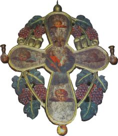 Cross-shaped wooden chandelier Wooden Chandelier, Patron Saints, Romania, Shapes, Traditional, Christmas Ornaments, Holiday Decor, Painting, Home Decor