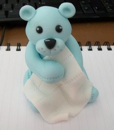 Fondant Bear Topper w/ Baby Blanket. $8.00, via Etsy.