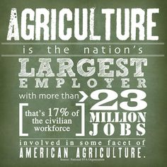 Agriculture is the nation's largest employer!