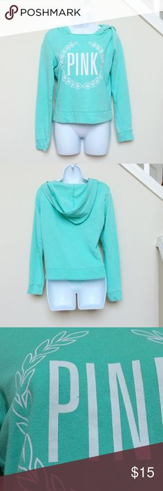 """VS PINK Light Green Hooded Sweatshirt, XS Warm and comfy seafoam green colored hoodie/hooded sweatshirt from VS Pink, size XS.  Good used condition. *Please note: item has been worn and washed, there is some small amount of pilling, especially in the hood. Sweatshirt is meant to have a """"distressed"""" look and has some fray around neckline. *Also note: there is a small pen mark on the """"P"""" (see close up picture). PINK Victoria's Secret Tops Sweatshirts & Hoodies"""