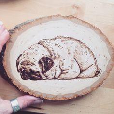 Wood burned pug loaf pug art wood pug dog art pug by ThePastelPug