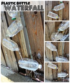 How-To Tutorial {Think Outside the Toy Box} Summer Fun series Plastic Pop Bottles: Waterfall, Upcycling plastic bottles, kids outdoor fun, toddler summer time activities, water play outside, water wall, reusing household items