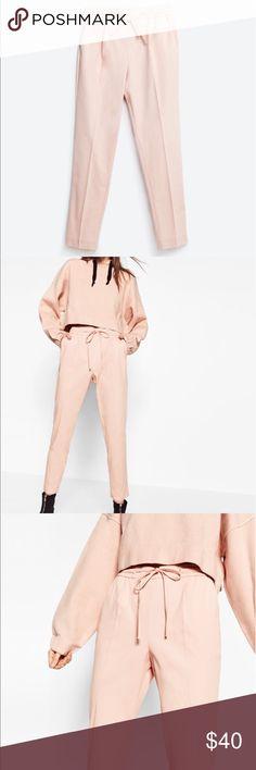 Zara Pink Pants Zara Pink elastic waistband pants. Like new. Only worn once to try on. Zara Pants