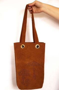 Punched panther mushroom family and friends. Calf Leather, Leather Bag, Family Portraits, Calves, Hand Weaving, Reusable Tote Bags, Vintage, Hand Knitting, Baby Cows