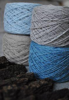Natural yarn pack Natural wool yarn set Blue indigo yarn