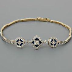 Antique Art Deco Diamond Bracelet Sapphires Yellow Gold #diamondbracelet