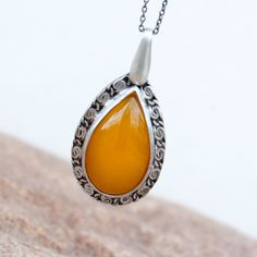 Silver necklace with yellow agate,A289 ,Pendant in Sterling Silver ,Necklace Jewelry,agate necklace,boho, by Artseko on Etsy