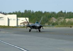 An F-22 Raptor taxis to its parking spot on Joint Base Elmendorf-Richardson, Alaska, May 14, 2014. The Raptor flew as part of Red Flag, which is conducted three to four times a year at JBER and Eielson Air Force Base. (U.S. Air Force photo/Staff Sgt. Zachary Wolf)