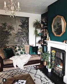 35 Gorgeous Living Room Wall Decor Ideas That Looks So Cute - When decorating a home, one of the most difficult jobs is choosing wall art. This is made more difficult when trying to fill a large wall in your livi. Living Room Green, My Living Room, Home And Living, Living Room Decor, Modern Living, Living Spaces, Green Accent Walls, Dark Green Walls, White Walls