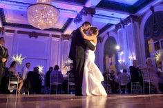 Nice purple uplighting with bride and groom. DIY and get the look for your event at http://RentUplights.com