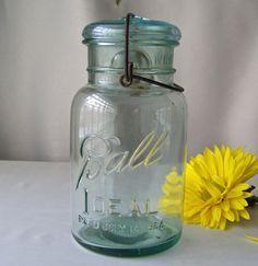 Antique Aqua Blue Ball Ideal Mason Jar Quart by CynthiasAttic