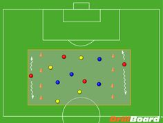 Support the Ball - A soccer drill for improving support play around the ball #DrillBoard #coach #soccer #football