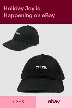 7ae0476c Tired Black White Logo Dad Hat Cap Mens Adult Size Text Logo Strapback