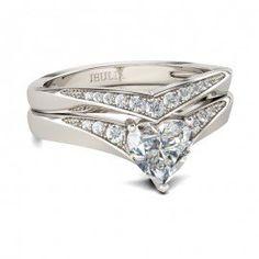 Jeulia 1.5CT Heart Cut Created White Sapphire Wedding Set