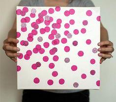 Glitter dot art canvas diy
