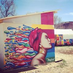 Mixing #streetart style with temporary relief structures for those hit by disaster is a great collaboration! #community #denver #disasterrelief #publicart