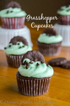 Grasshopper Cupcakes - rich chocolate cupcakes topped with a minty butter cream frosting