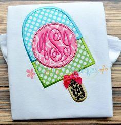 Popsicle Monogram Machine Embroidery Applique by Creativeapplique, $3.99