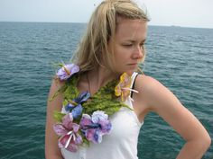 Felted flower necklace/ fiber art felted necklace eco by Marywool, $69.00
