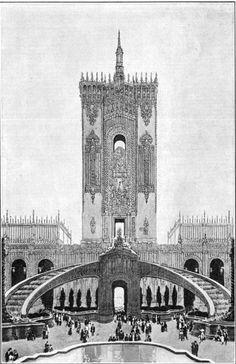 """Tower and Cascade, Court of Abundance -- """"Here will assemble many of the facinating pageants that will come from the concession center to draw visitors to the amusement features or Midway of the Exposition."""" Copyright 1913 by the P.P.I.E. Co."""