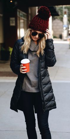 #winter #outfits black full-zip bubble jacket, red beanie, pair of black pants, and gray top outfit