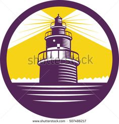 Illustration of a lighthouse viewed from front set inside circle done in retro woodcut style. Lighthouse, Royalty Free Stock Photos, Retro Illustrations, Vector Stock, Buildings, Pictures, Image, Style, Bell Rock Lighthouse