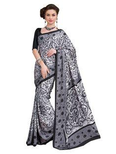 Crepe #Silk Printed Grey #Saree #blouse #indian #outfit #shaadi #bridal