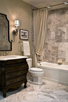 Tub surround would tie into wood-look floor, blend of gray and brown                                                                                                                                                      More