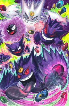 Phantom Forces! by matsuyama-takeshi.deviantart.com on @deviantART (Gastly, Haunter, Gengar, Mega Gengar & Shiny Mega Gengar)