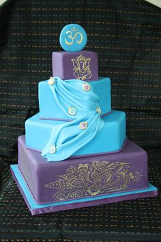 Indian Themed Wedding Cake-once again different colors