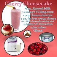Cherry Cheesecake 6 oz Almond Milk 2 scoops Vi-Shape mix 1 cup frozen cherries 2 oz fat free cream cheese (or a Tbsp. cheesecake pudding mix) 2 dashes of cinnamon 5 ice cubes Blend  www.bodybyvisite.com
