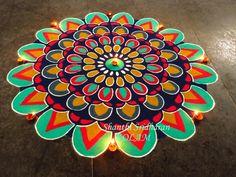 Mandala Kolams – The amazing colorful creations of Shanthi Sridharan Easy Rangoli Designs Diwali, Rangoli Designs Latest, Simple Rangoli Designs Images, Rangoli Designs Flower, Free Hand Rangoli Design, Rangoli Patterns, Rangoli Border Designs, Rangoli Ideas, Colorful Rangoli Designs