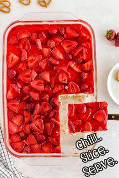 step 5 chill slice and serve the Strawberry Pretzel Salad Crock Pot Desserts, Make Ahead Desserts, Delicious Desserts, Yummy Food, Strawberry Pretzel Jello, Strawberry Recipes, Jello Flavors, Appetizer Recipes, Dessert Recipes