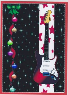 Christmas guitar on Craftsuprint designed by Gail Collins - made by Susan Cummings - The main image has been attached to red card. Silver peel off has been used for the border. The guitar has been decoupaged. - Now available for download!