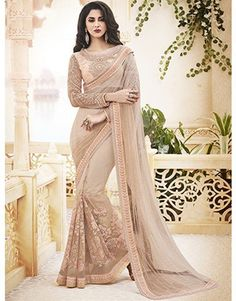Cream Net Saree with Pearl Work